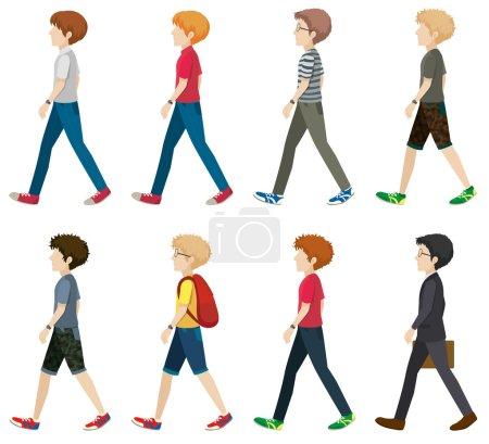 Illustration pour Illustration de nombreux hommes marchant - image libre de droit