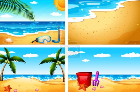 Illustration for Four beautiful beach sceneries - Royalty Free Image