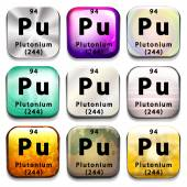 Buttons showing Plutonium and its abbreviation