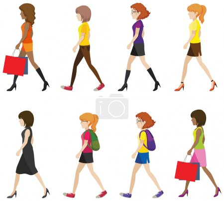Illustration for Faceless ladies walking in one direction on a white background - Royalty Free Image