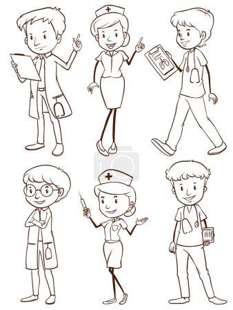 Illustration pour Un dessin simple d'un groupe d'infirmières et de médecins sur fond blanc - image libre de droit