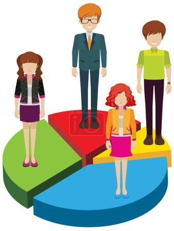 Ilustración de Un gráfico circular con personas en un fondo blanco - Imagen libre de derechos