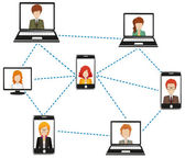 A network of people connected by technology on a white background