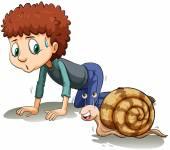 A boy following the snail