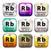 An icon with the chemical element Rubidium