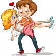 An idiom showing a boy chasing her love on a white...