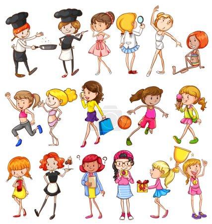 Illustration pour Différentes activités de filles sur fond blanc - image libre de droit