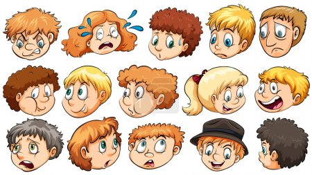 Illustration for Set of the different facial expressions on a white background - Royalty Free Image