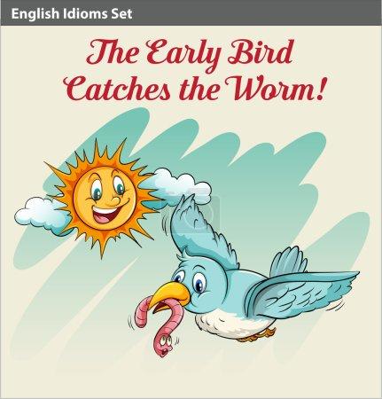An early bird catching a worm