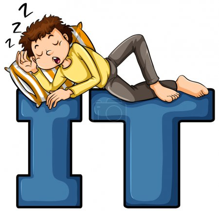 Illustration for A boy sleeping on the IT letters on a white background - Royalty Free Image