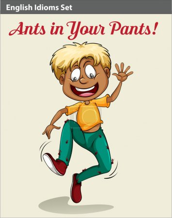 Illustration pour Un idiome montrant un garçon avec des fourmis dans son pantalon - image libre de droit