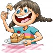 Young girl eating a cake on a white background...