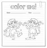 Coloring worksheet with monkeys