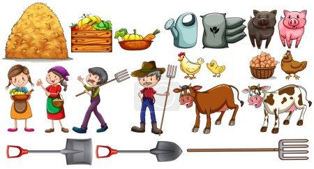 Illustration pour Agriculteurs avec leur ensemble d'outils et d'animaux de ferme sur fond blanc - image libre de droit