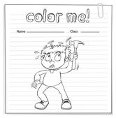 Coloring worksheet with a boy holding a hammer