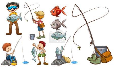Illustration pour Les gens avec le même passe-temps sur un fond blanc - image libre de droit