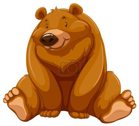 Illustration pour Un gros ours brun sur fond blanc - image libre de droit