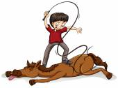 Man beating the horse