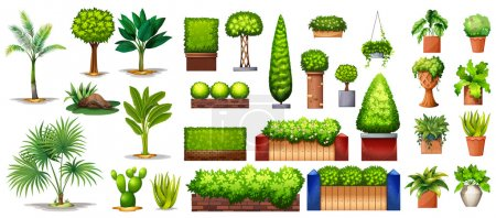 Illustration for Different species of green plants on a white background - Royalty Free Image