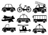 Set of transport vehicles in black color on a white background