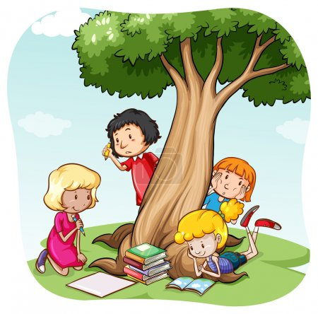 Illustration for Children reading and writing under the tree - Royalty Free Image