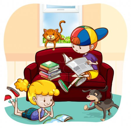 Boy and a girl reading books and newspaper with pe...