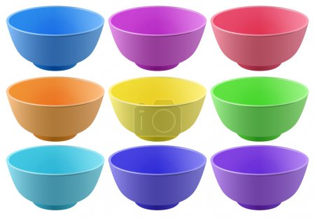 Plastic bowls in nine different colors...