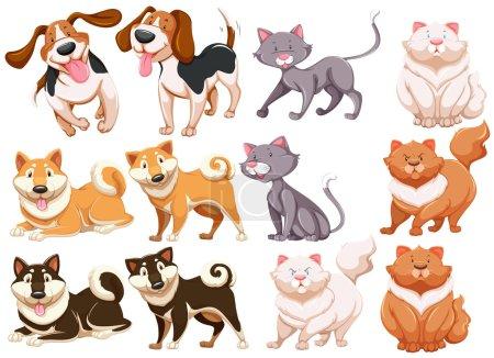Illustration pour Différentes espèces de chiens et de chats - image libre de droit