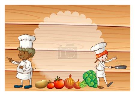 Illustration pour Deux chefs avec des légumes sains sur le sol - image libre de droit
