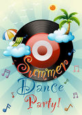 Poster of a summer dance party with beach theme
