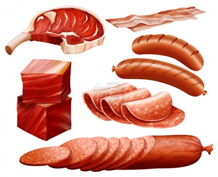 Set of different kind of meat products...