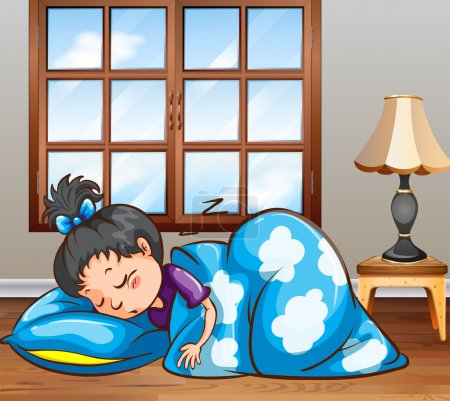 Illustration for Girl sleeping in the bedroom - Royalty Free Image