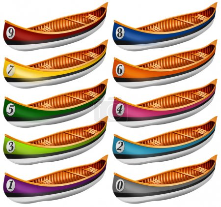 Canoes in different colors