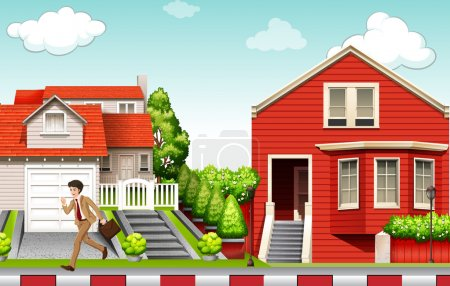 Illustration for Man running from house illustration - Royalty Free Image
