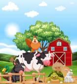 Mixed animals at a farm