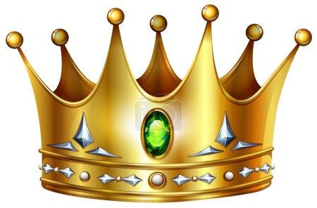 Illustration pour Couronne dorée avec pierres précieuses vertes et diamants - image libre de droit