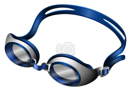 Illustration for Blue swimming goggles with rubber band - Royalty Free Image