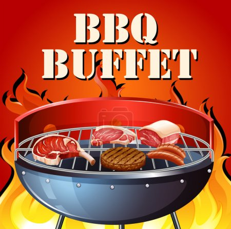 Illustration for BBQ buffet with meat on the grilled - Royalty Free Image