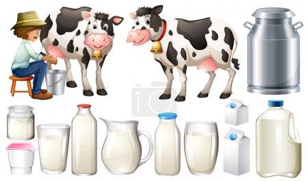 Illustration pour Ensemble de produits laitiers avec fermier et lait - image libre de droit