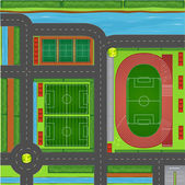 Sporting complex aerial view illustration