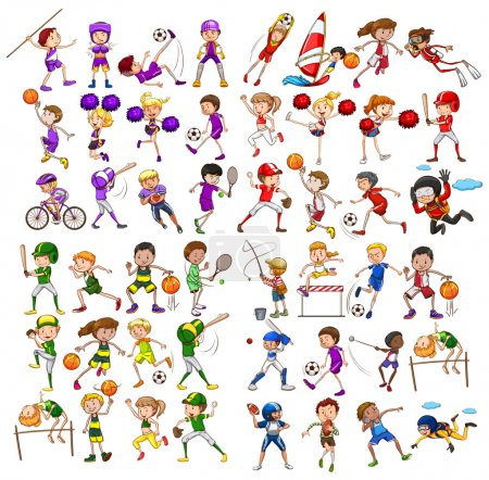 Illustration for Kids playing various sports illustration - Royalty Free Image