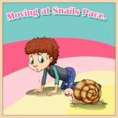 Man crawling beside snail illustration