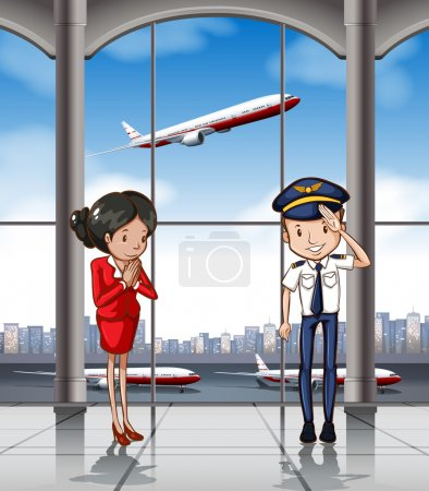 Cabin crew at airport