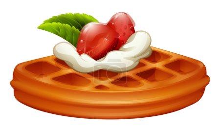 Illustration pour Gaufre avec illustration à la fraise et crème - image libre de droit