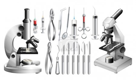 Illustration for Different medical equipments and tools illustration - Royalty Free Image