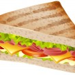Sandwich with ham and cheese illustration...