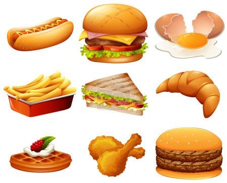 Illustration pour Différents types d'illustration de la nourriture rapide - image libre de droit