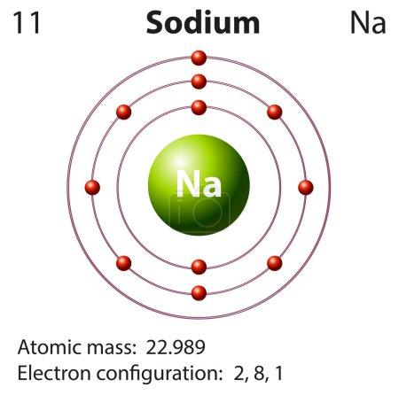 Diagram representation of the element sodium illus...