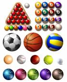 Different kind of balls of many sports illustration