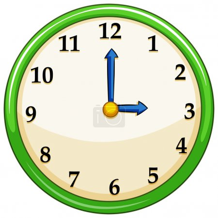 Illustration for Round clock with green frame illustration - Royalty Free Image